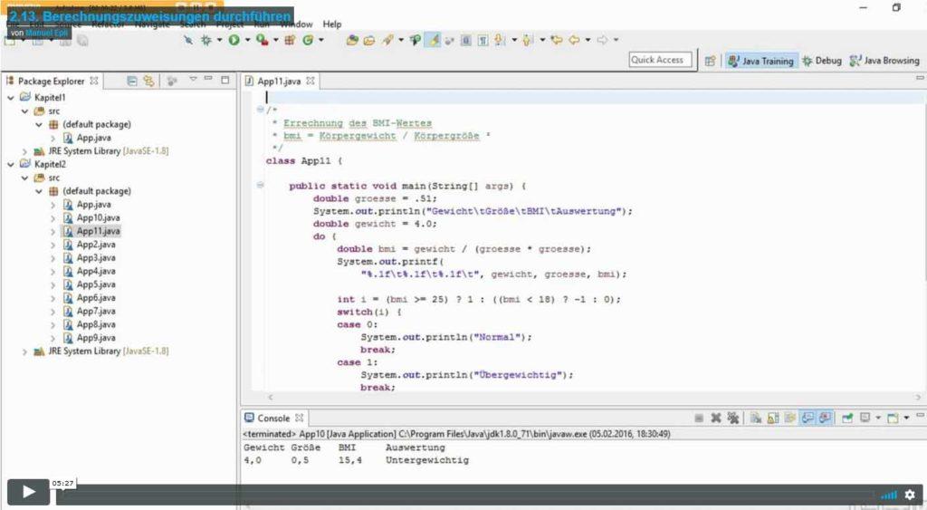 Java Basiskurs 2.13. Titelbild