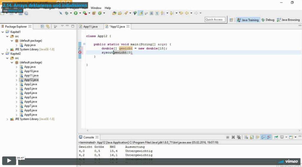 Java Basiskurs 2.14. Titelbild